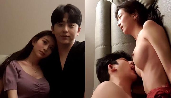 [韓國] 真是郎才女貌的一對~帥小哥無私分享女友美乳-1